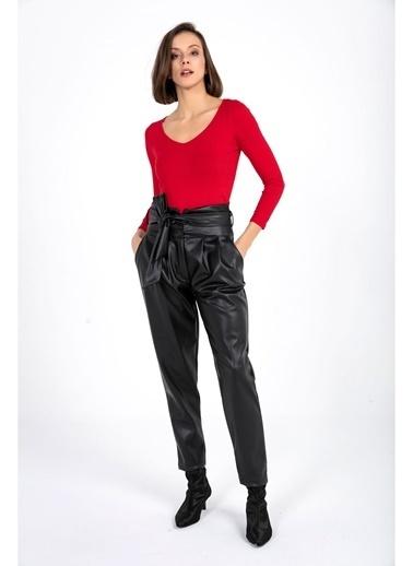 Tiffany&Tomato Kuşakli Deri Pantolon Siyah
